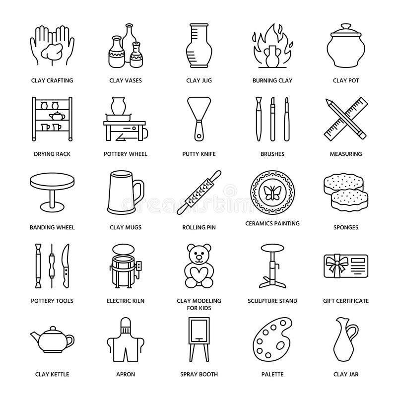 Pottery workshop, ceramics classes line icons. Clay studio tools signs. Hand building, sculpturing equipment - potter stock illustration