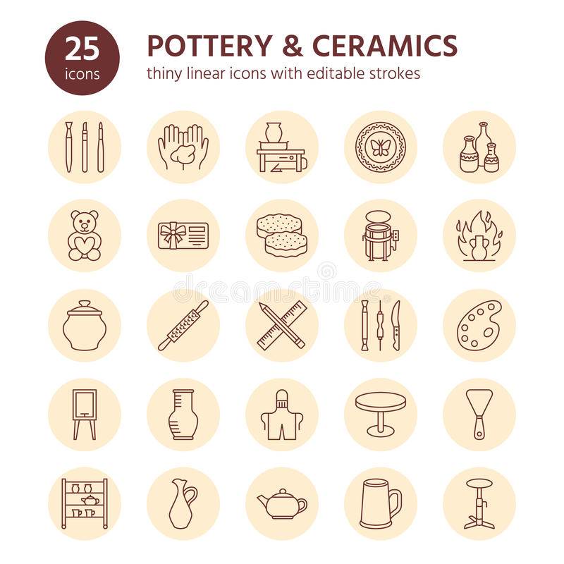 Pottery workshop, ceramics classes line icons. Clay studio tools signs. Hand building, sculpturing equipment - potter vector illustration