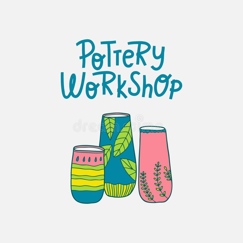 Pottery workshop. Producing handmade ceramics & clay items. Hand-drawn illustration royalty free illustration