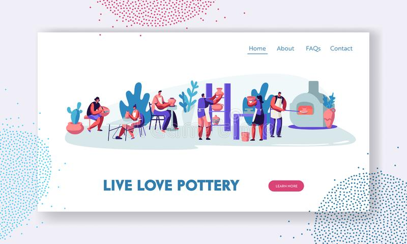 Pottery Workshop Website Landing Page. Characters Making and Decorating Pots, Earthenware, Ceramic Crockery, Group of People vector illustration