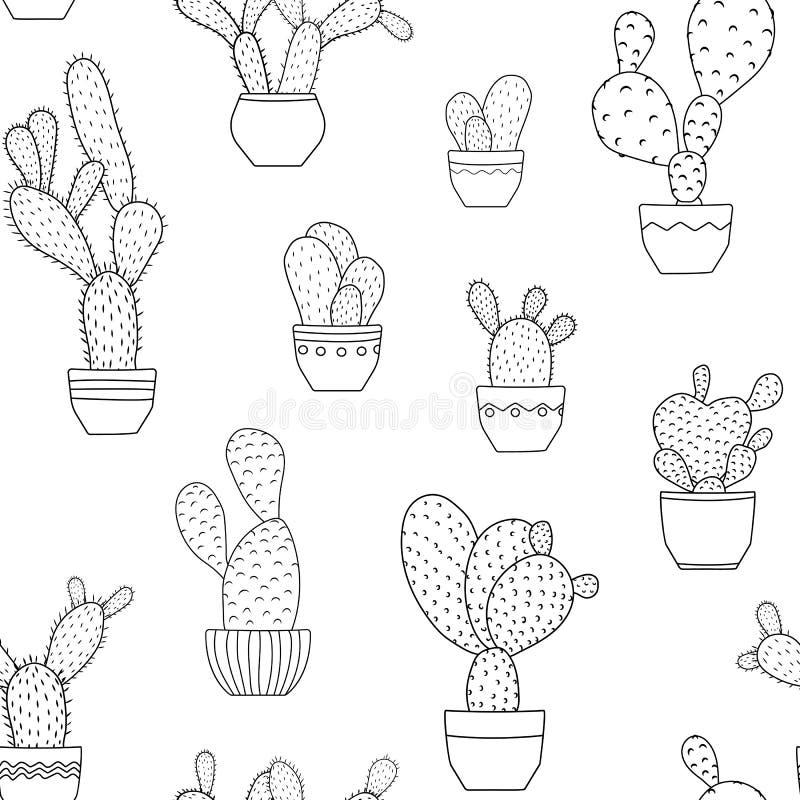 Pottet kaktus zasadza bezszwowego deseniowego czarnego biel ilustracja wektor