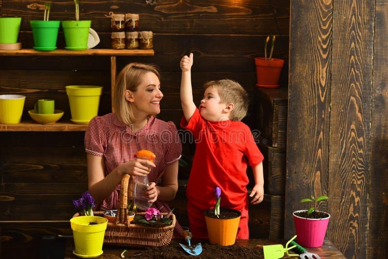 Pottingkonzept Kleines Kindershowdaumen herauf Hand zur Frau in der Pottinghalle Familienbetriebsblume im Pottingboden potting lizenzfreie stockfotos