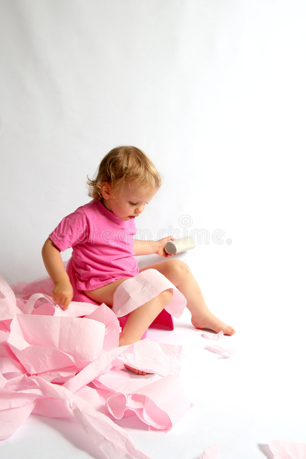 Potty. Little baby and pink potty
