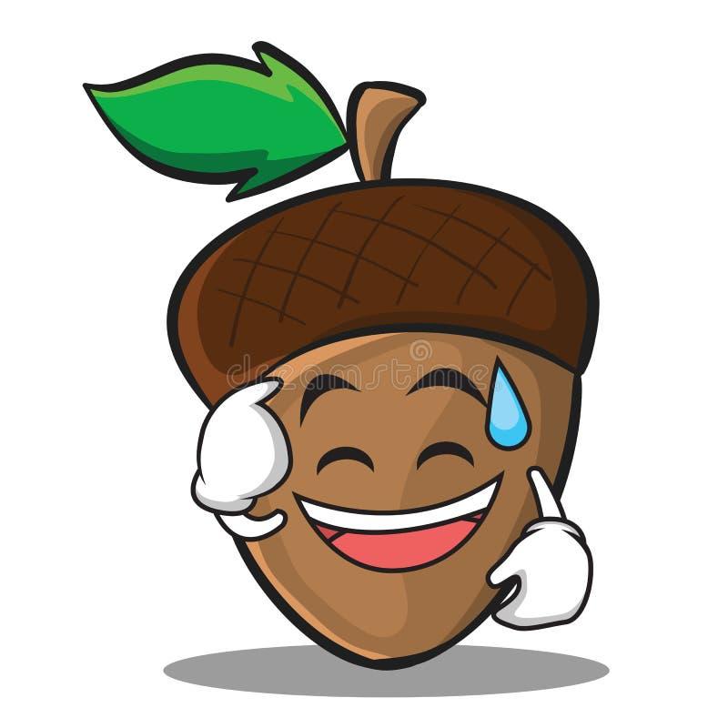 Potu uśmiechu acorn postać z kreskówki styl royalty ilustracja