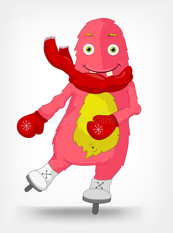 potwór śmieszna łyżwiarka ilustracja wektor
