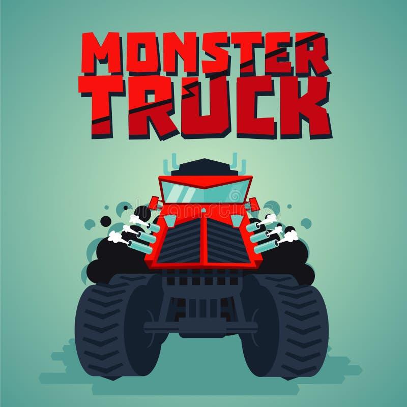 Potwór ciężarówka Duży samochód, kreskówka styl button ręce s push odizolowana początku ilustracyjna kobieta Frontowy widok ilustracja wektor