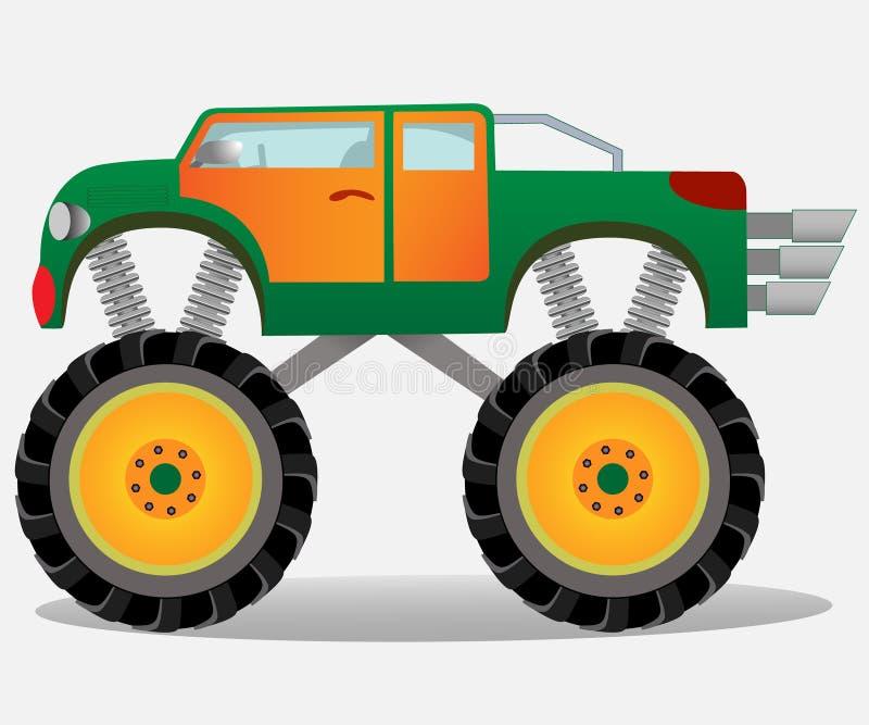 Potwór ciężarówka z dużymi kołami Samochodowy pojazd w zieleni i pomarańcze royalty ilustracja