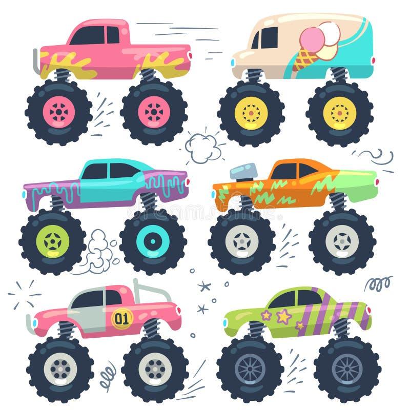 Potwór ciężarówki Dzieciaka samochodu zabawki Kreskówka wektoru set royalty ilustracja