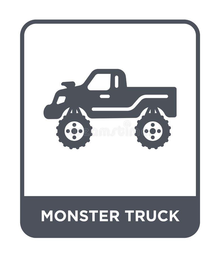 potwór ciężarówki ikona w modnym projekta stylu potwór ciężarówki ikona odizolowywająca na białym tle potwór ciężarówki wektorowa ilustracja wektor