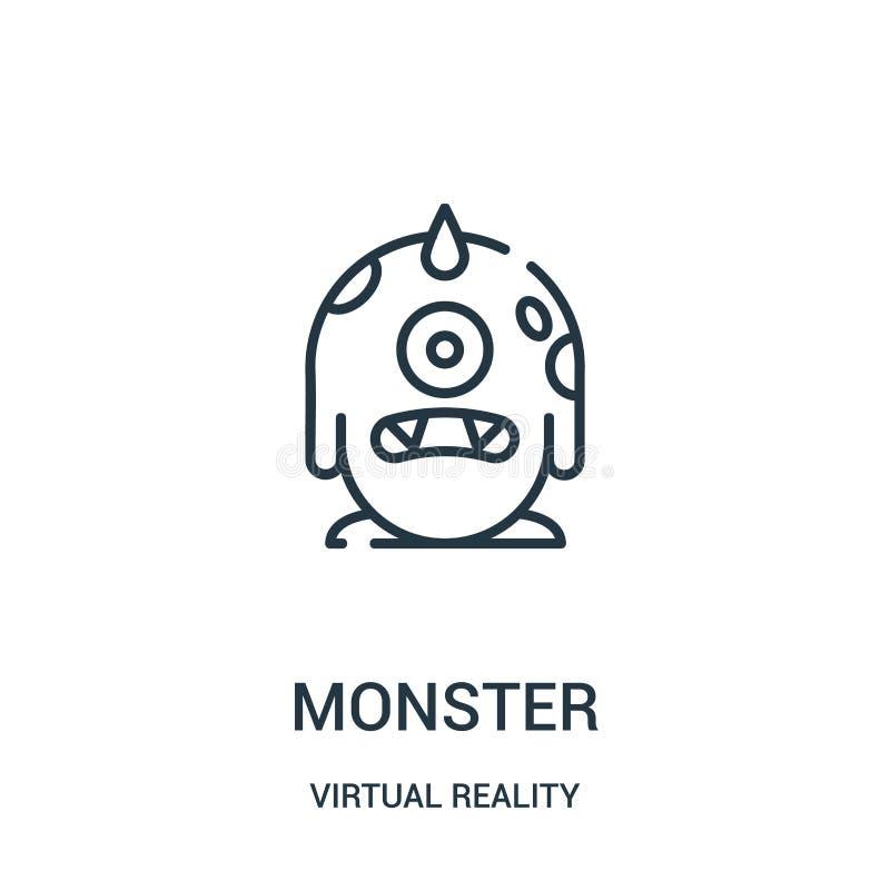 potwór ikony wektor od rzeczywistości wirtualnej kolekcji Cienka kreskowa potwora konturu ikony wektoru ilustracja ilustracja wektor