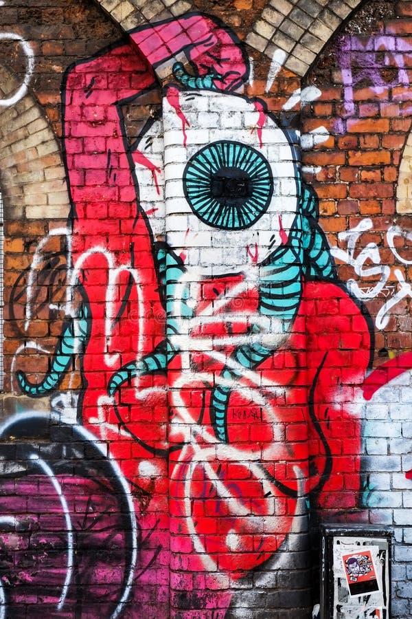 Potwór istota z dużym okiem, graffiti ścienna sztuka, Londyn UK ilustracja wektor