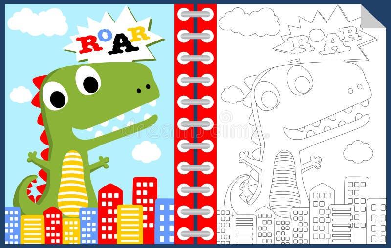 Potwór kreskówka w mieście, kolorystyki książce lub stronie, royalty ilustracja