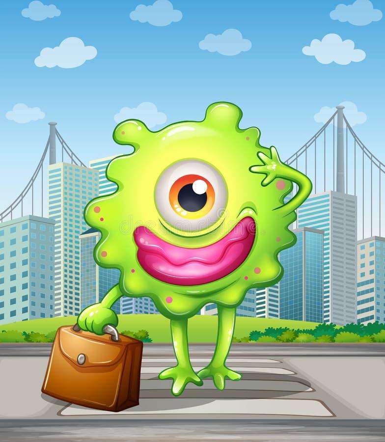 Potwór krzyżuje ulicę z torbą royalty ilustracja