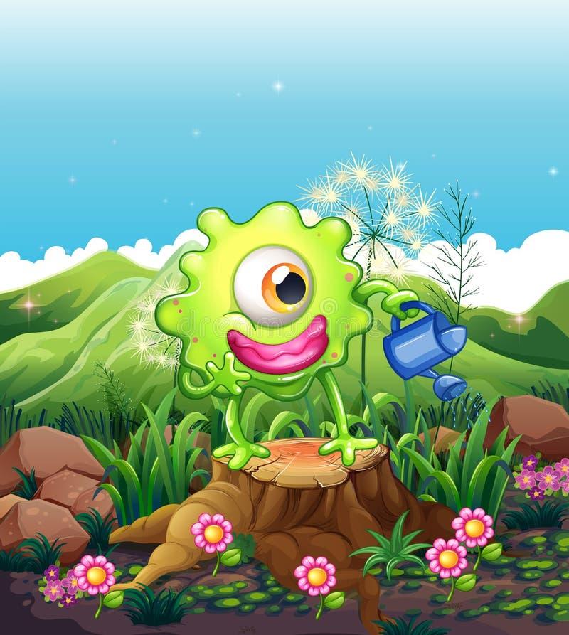 Potwór nawadnia rośliny nad fiszorek ilustracja wektor