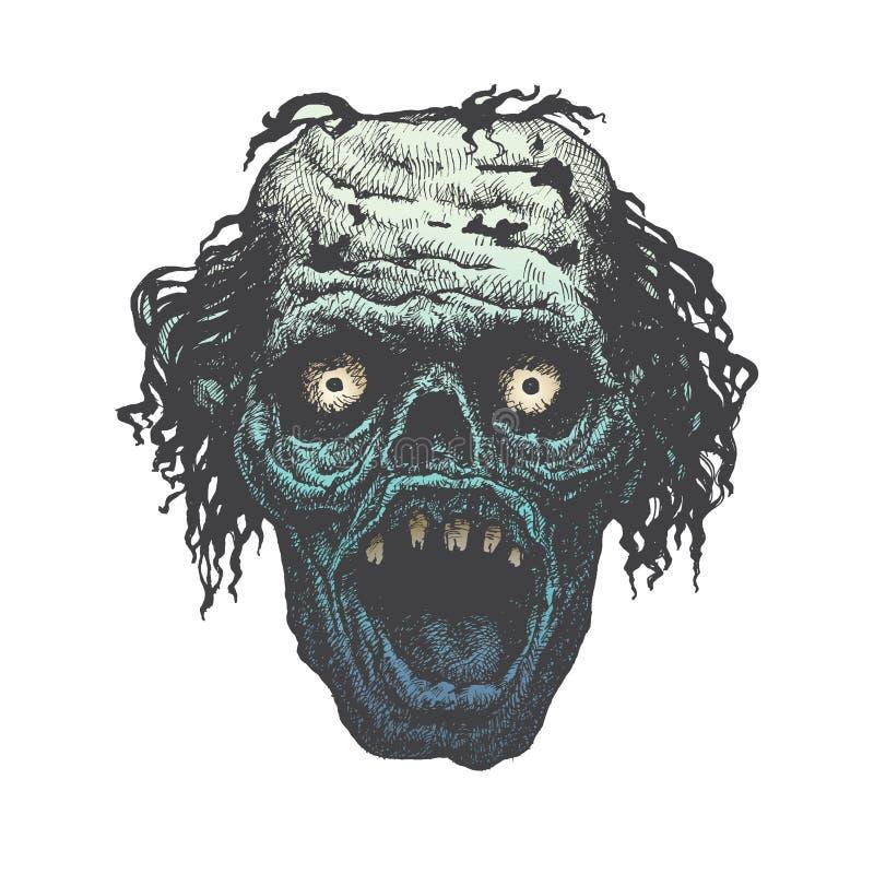 Potwór twarz krzyczy z ostrymi zębami royalty ilustracja
