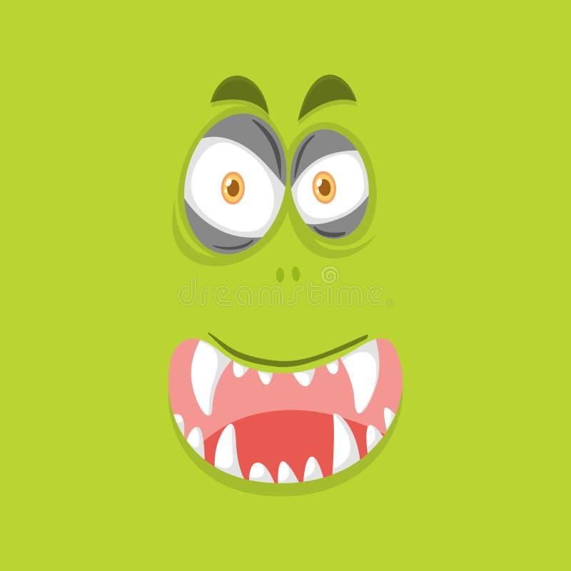 Potwór twarz na wapno zieleni tle ilustracja wektor