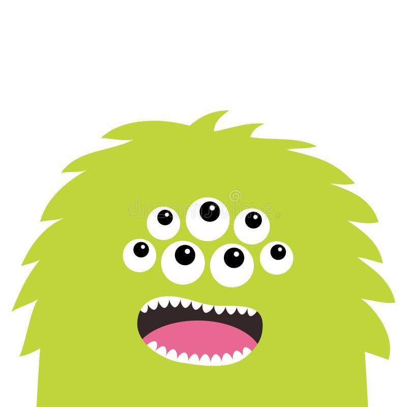 Potwór twarzy głowy straszna krzycząca ikona Oczy, fang ząb Ślicznego kreskówka okrzyki niezadowolenia straszny charakter Zielona royalty ilustracja