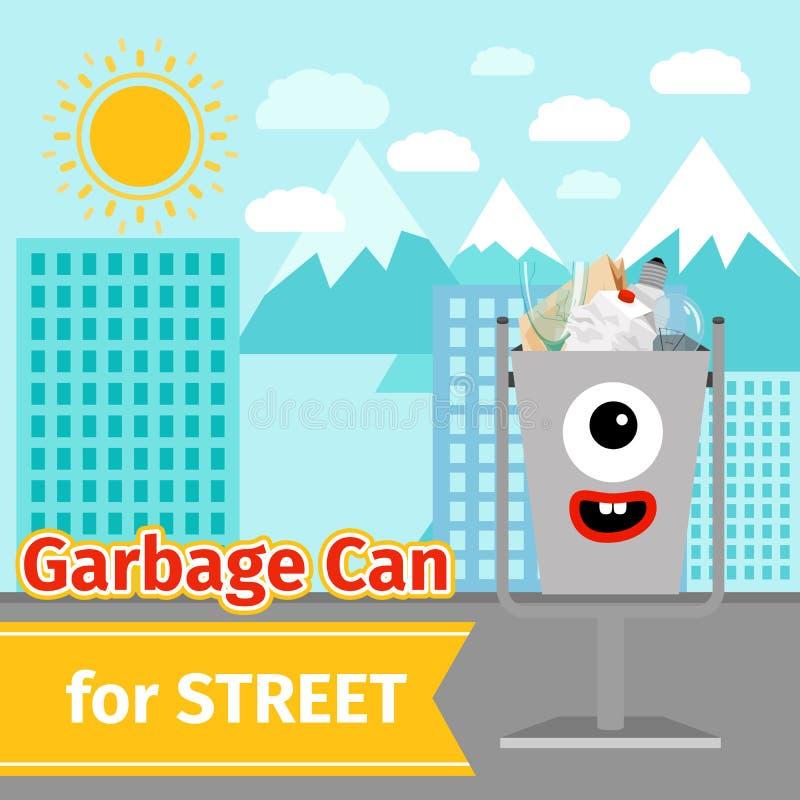 Potwór twarzy pojemnik na śmiecie z ulicznym gratem ilustracja wektor