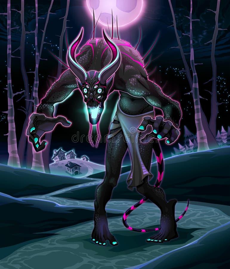 Potwór w drewnie royalty ilustracja