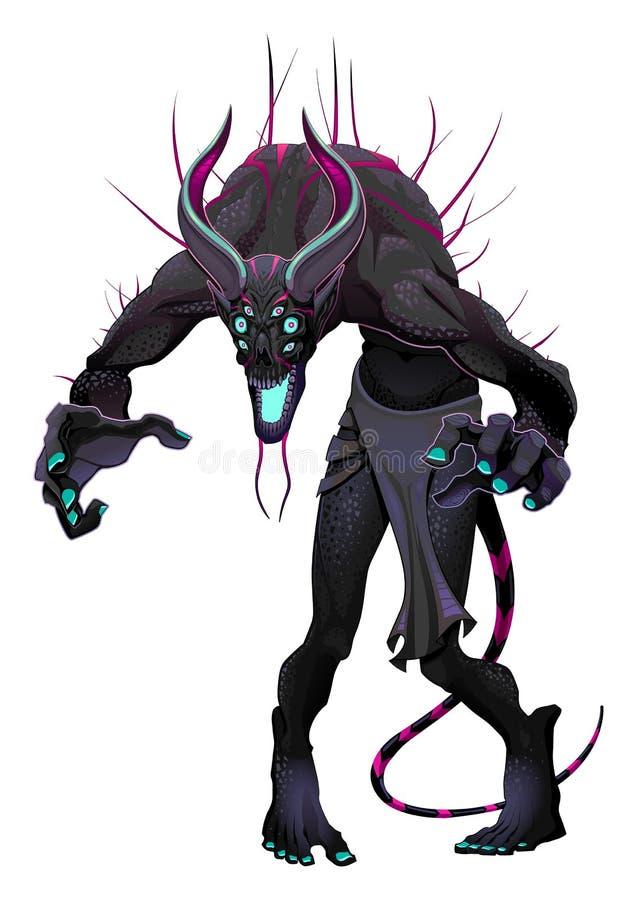 Potwór z 6 oczami ilustracja wektor