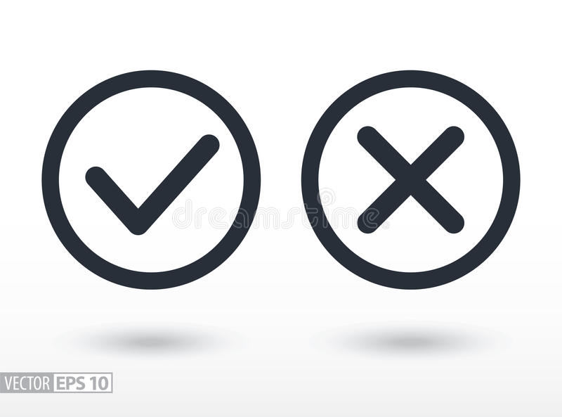 Potwierdza płaską ikonę i zaprzecza Wektorowy logo dla sieć projekta, wiszącej ozdoby i infographics, royalty ilustracja