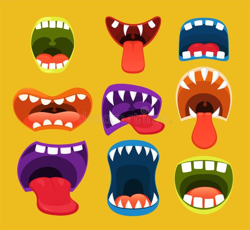 Potworów usta wyrażeniowy twarzowy śmieszny ilustracji