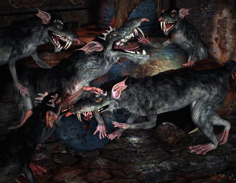 potworów walczący szczury royalty ilustracja