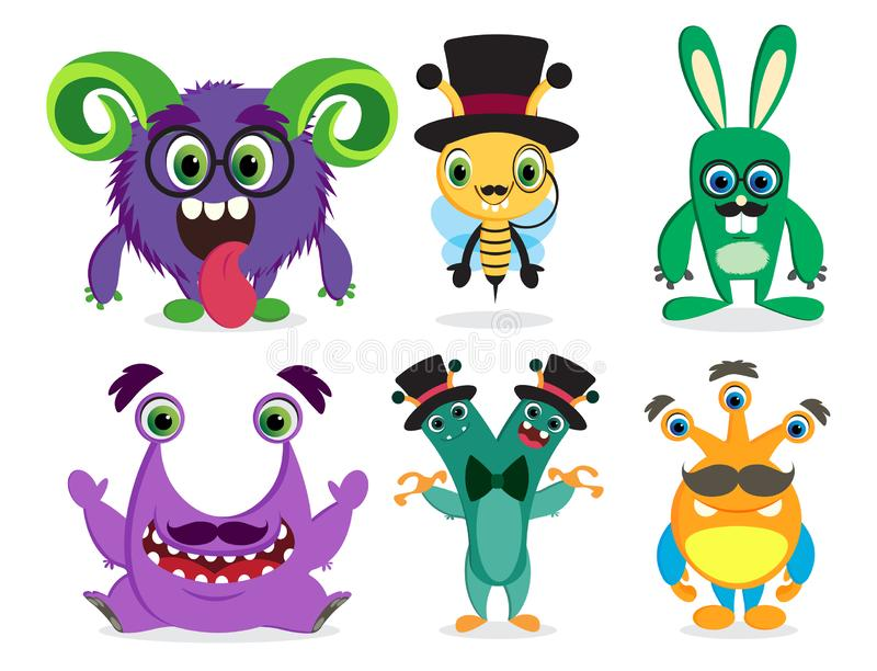Potworów wektorowi charaktery ustawiający Śliczne kreskówki maskotki bestie royalty ilustracja