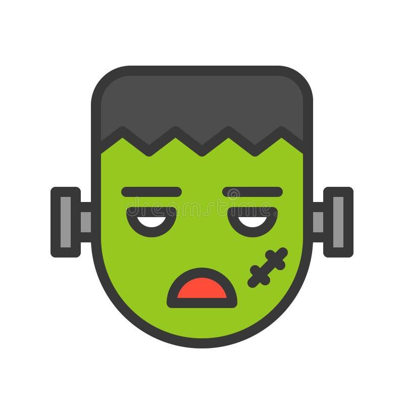 Potwora żywy trup, Halloween charakter, wypełniający kontur ikony editabl ilustracja wektor