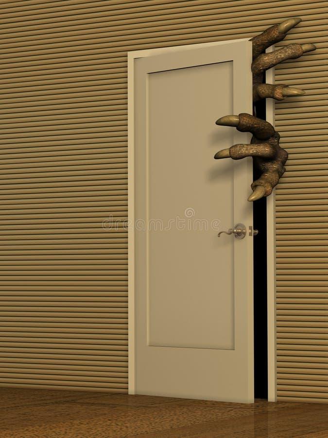potwora drzwiowy otwarcie ilustracja wektor