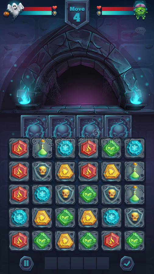 Potwora GUI batalistyczny rozpieczętowany drzwi ilustracji