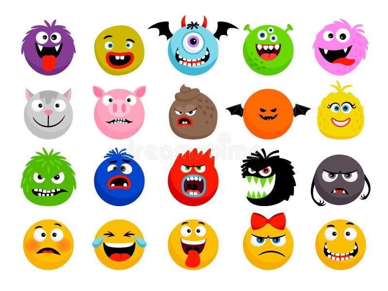 Potwora i zwierzęcia emoticons ilustracja wektor