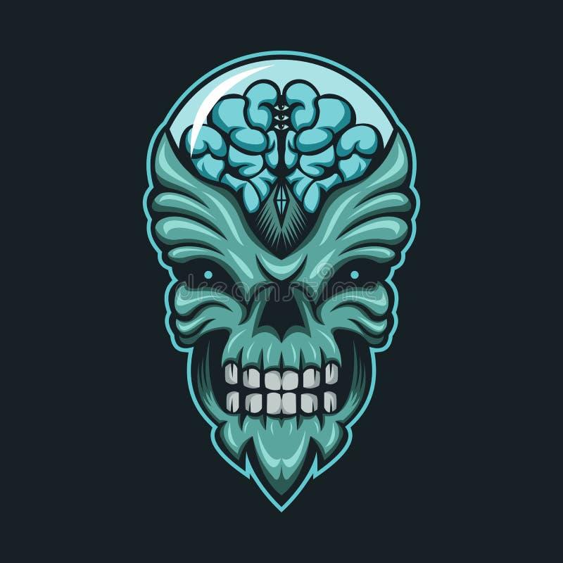 Potwora mózg głowy projekta Wektorowa ilustracja ilustracja wektor