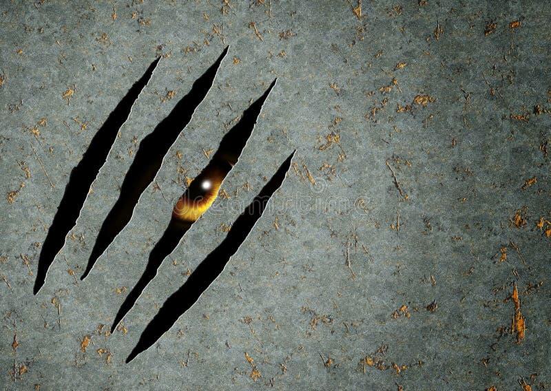 Potwora oko w dziurze w metalu ilustracja wektor