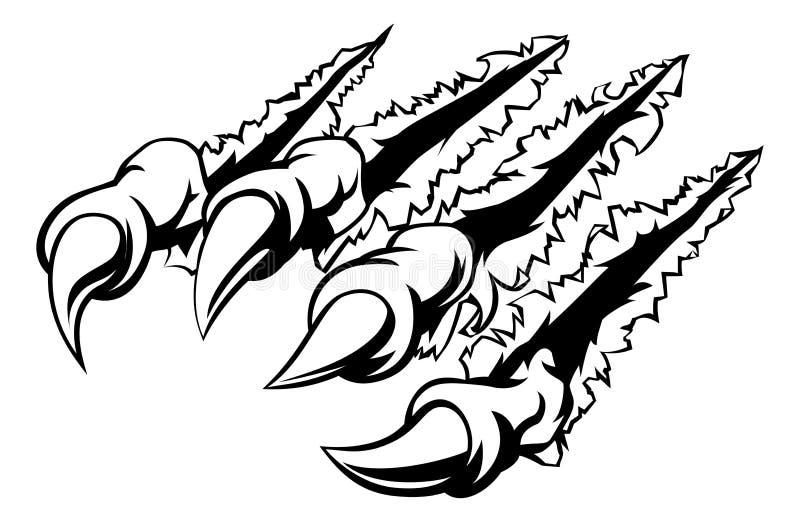 Potwora pazur Rozdziera lub Drzeje ilustracja wektor