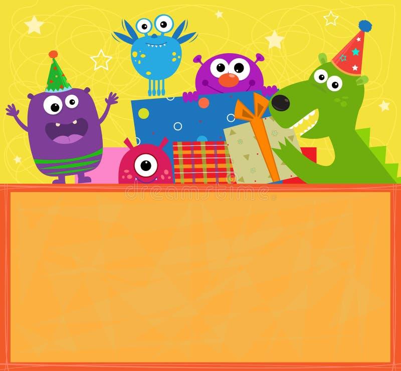 Potwora urodziny sztandar royalty ilustracja