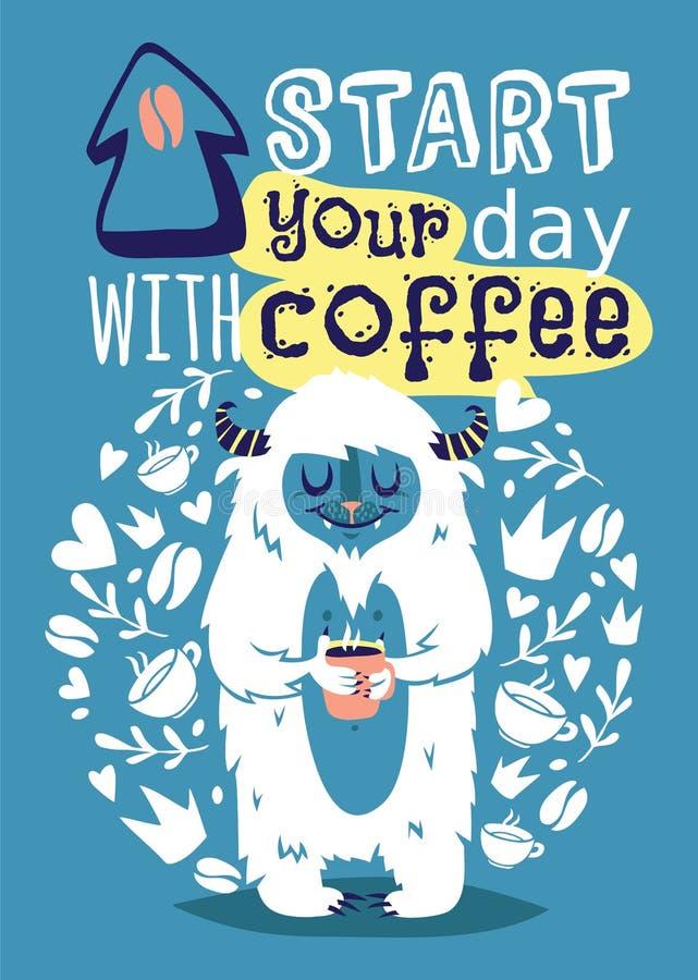 Potwora yetti Bigfoot z filiżanka sztandaru wektoru kawową ilustracją Kreskówka i śmieszny yeti plakat z tekstem Zaczynamy twój d royalty ilustracja