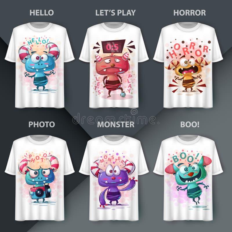 Potwory — pomysł na koszulkę drukowaną ilustracji