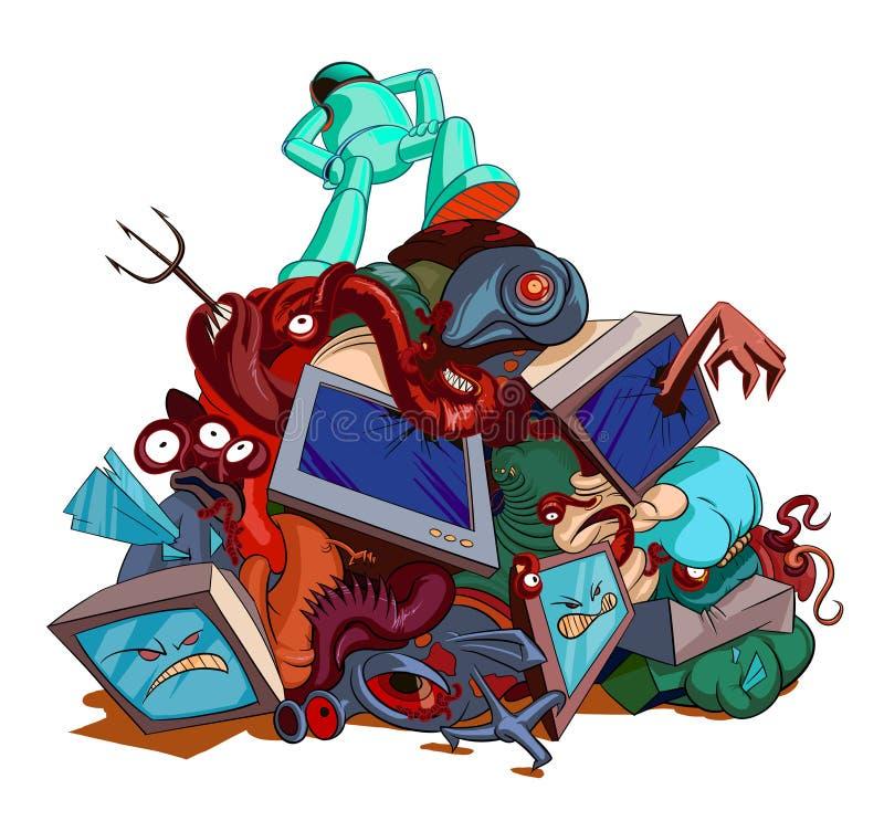 Potwory i obcy pokonujący bohaterem Komiczka obrazek royalty ilustracja