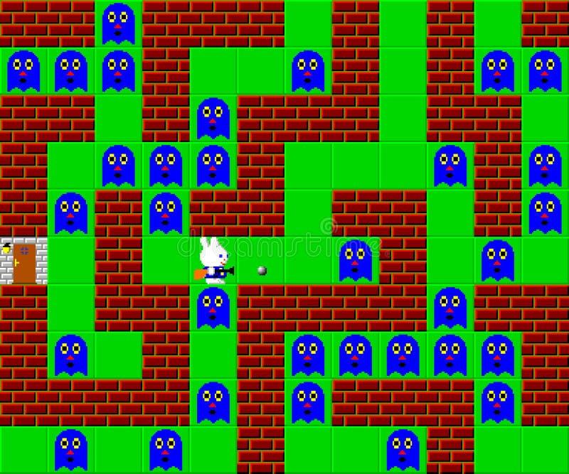 Potwory, retro stylowa gra pixelated grafika royalty ilustracja