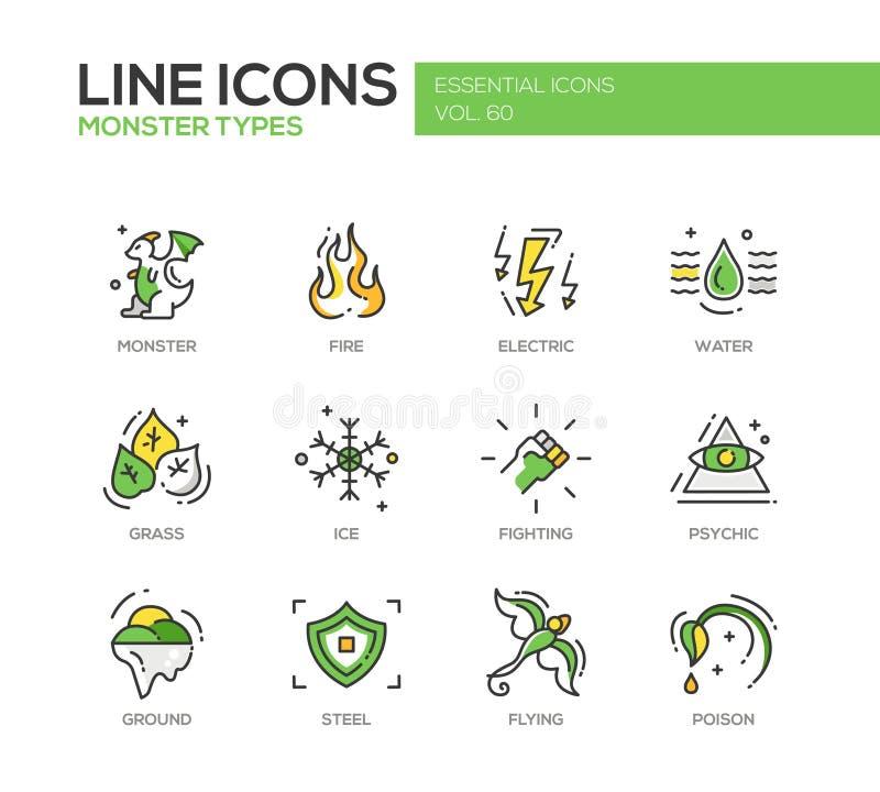 Potwory Sypes - kreskowe projekt ikony ustawiać ilustracja wektor