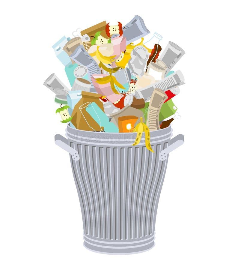 Poubelle avec des déchets d'isolement Poubelle de Wheelie avec des déchets sur le whi illustration libre de droits