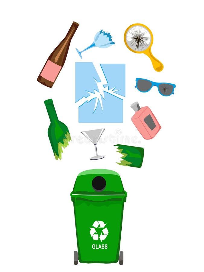 Poubelle avec les éléments en verre de déchets, illustration illustration de vecteur