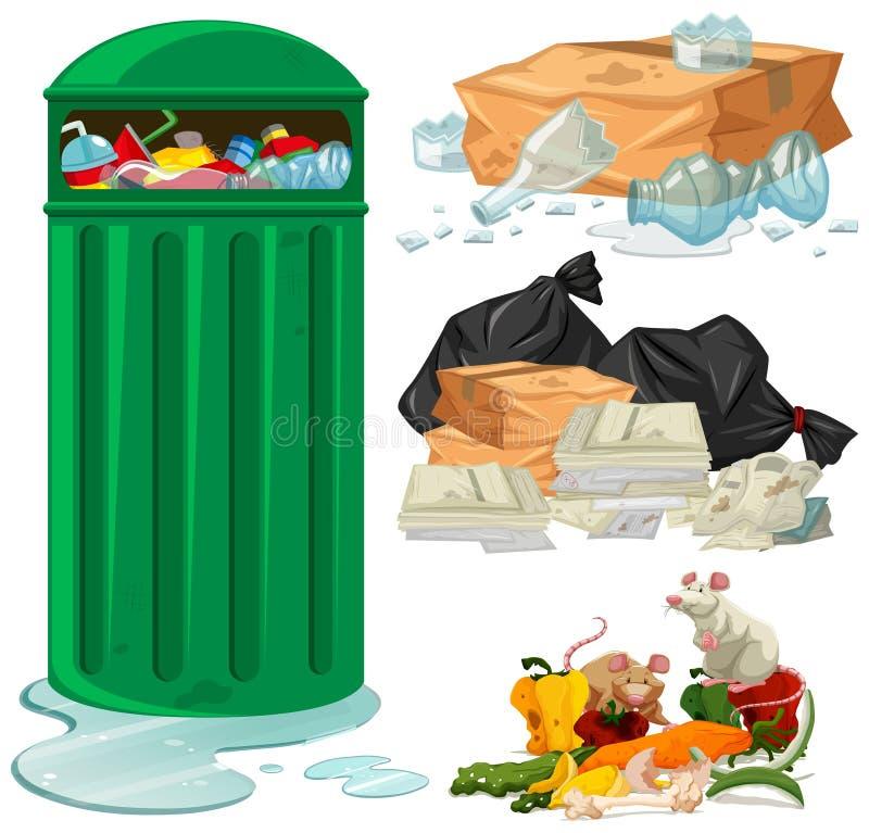 Poubelle et différents types de déchets illustration de vecteur