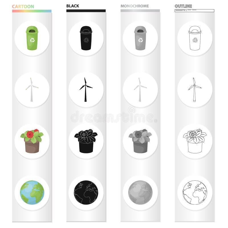 Poubelle, générateur de vent écologique, fleur dans le pot, la terre de planète Icônes réglées de collection d'écologie dans le n illustration de vecteur