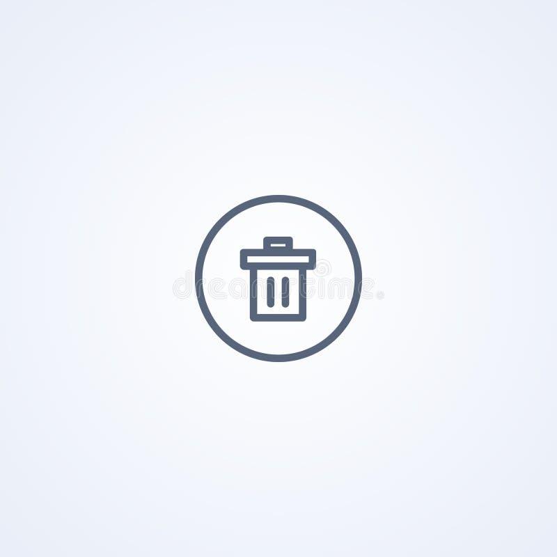 Poubelle, panier de déchets, la meilleure ligne grise icône de vecteur illustration libre de droits