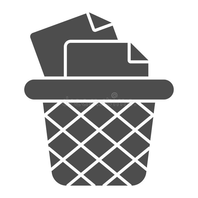 Poubelle pour l'icône solide de papiers Illustration de vecteur de poubelle de bureau d'isolement sur le blanc Style de glyph de  illustration stock