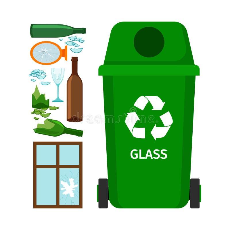 Poubelle verte avec le verre illustration libre de droits