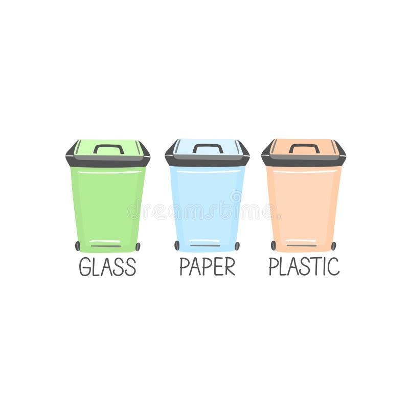 Poubelles de d?chets, bo?tes R?utilisez trier trashcan Conteneurs jaunes, verts, bleus pour le plastique, verre, papier illustration libre de droits