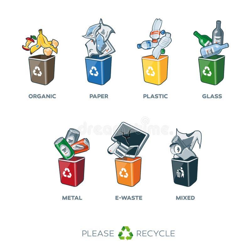 Poubelles de ségrégation de déchets pour les déchets mélangés verre-métal en plastique de papier organiques illustration de vecteur